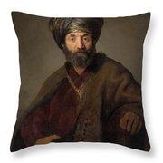 Man In Oriental Costume Throw Pillow