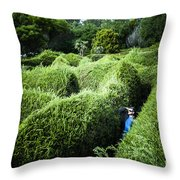Man Lost Inside A Maze Or Labyrinth Throw Pillow