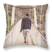 Man On Alexandra Suspension Bridge In Tasmania Throw Pillow