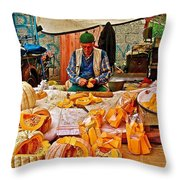 Man Peeling Squash In Antalya Street Market-turkey Throw Pillow