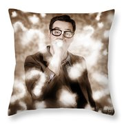 Man Problem Solving Question With Search Light Throw Pillow