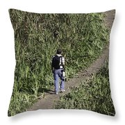 Man With A Canon Camera And Lens In Greenery Throw Pillow
