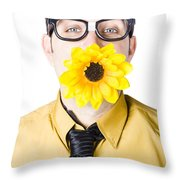 Man With Flower In Mouth Throw Pillow