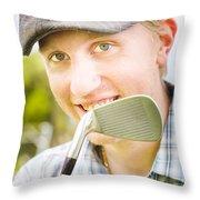 Man With Golf Club Throw Pillow