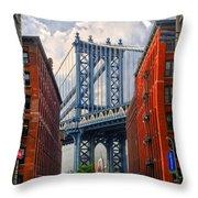 Manhattan Bridge View Throw Pillow