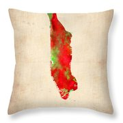 Manhattan Watercolor Map Throw Pillow by Naxart Studio