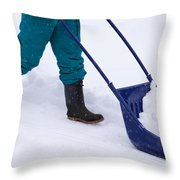 Manual Snow Removal With Snow Scoop After Blizzard Throw Pillow