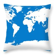 Map In Blue And White Throw Pillow