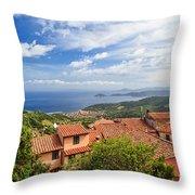Marciana Village - Elba Island Throw Pillow