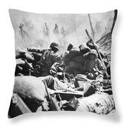 Marines Fight At Tarawa Throw Pillow
