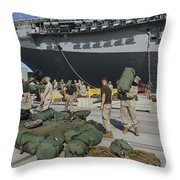 Marines Move Gear During An Embarkation Throw Pillow by Stocktrek Images
