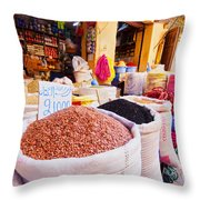 Market In Fes In Morocco Throw Pillow