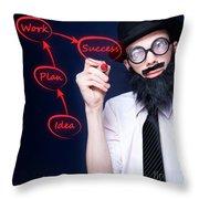 Marketing Business Man Drawing Success Diagram Throw Pillow