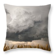 Marshmallow - Bubbling Storm Cloud Over Wheat In Kansas Throw Pillow