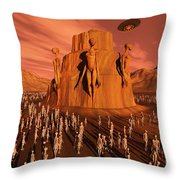 Martians Gathering Around A Monument Throw Pillow