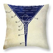 Martini Glass Patent Drawing Two Tone  Throw Pillow