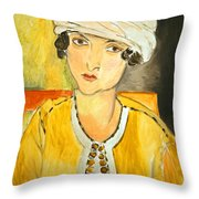 Matisse's Lorette With Turban And Yellow Jacket Throw Pillow