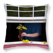 Mature Woman Cutting Flowers In Window Throw Pillow