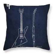 Mccarty Gibson Electrical Guitar Patent Drawing From 1958 - Navy Blue Throw Pillow