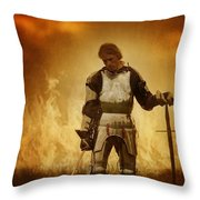 Medieval Knight On A Burning Battlefield Throw Pillow