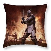 Medieval Knights In Battle Throw Pillow