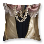 Medieval Or Tudor Woman Holding A Pearl Necklace Throw Pillow