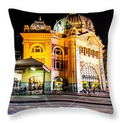 Melbourne At Night Throw Pillow