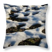 Melting Snow On Lawn Throw Pillow