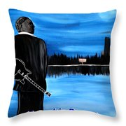 Memphis Dream With B B King Throw Pillow by Mark Moore