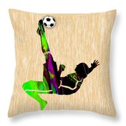 Womans Soccer Throw Pillow