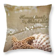 Mermaid Kisses And Starfish Wishes Throw Pillow