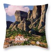 Meteora Greece Throw Pillow