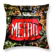 Metro Sign, Paris, France Throw Pillow