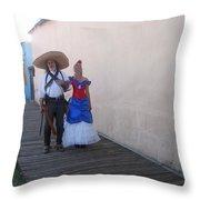 Mexican Revolutionary Re-enactor With His  Lady Helldorado Days Tombstone Arizona 2004 Throw Pillow