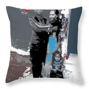Mexican Soldier With Wife And Child Unknown Location 1915-1920-2014  Throw Pillow