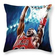 Michael Jordan Artwork Throw Pillow by Sheraz A