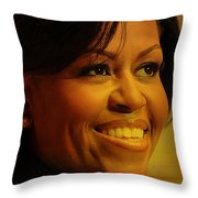 Michelle Obama Throw Pillow by Marvin Blaine
