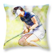 Michelle Wie Reacts After Missing A Putt On The 15th Hole Throw Pillow
