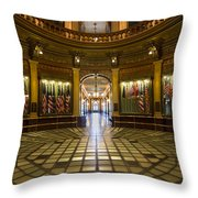 Michigan Capitol Flag Room Throw Pillow