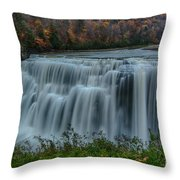 Middle Falls At Letchworth State Park Throw Pillow