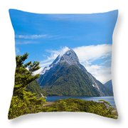 Milford Sound And Mitre Peak In Fjordland Np Nz Throw Pillow