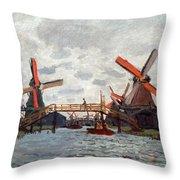 Mills At Westzijderveld Near Zaandam Throw Pillow