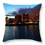 Milwaukee Skyline At Dusk Throw Pillow