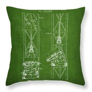 Mine Elevator Patent From 1892 - Green Throw Pillow