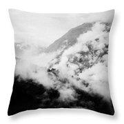 Mist In Mountain Himalayas Throw Pillow
