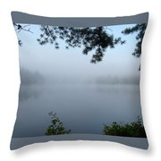Misty Morning On The Lake Throw Pillow