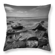 Misty Rocks Bw Throw Pillow