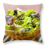 Mixed Salad On Table Throw Pillow