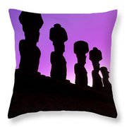 Moais Easter Island Chile Throw Pillow