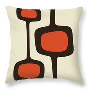 Mod Pod Two Orange With Brown Throw Pillow
